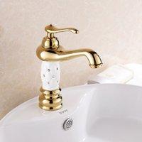 bathroom vanities small bathrooms - Euro Gold finish Luxury Bathroom Basin Faucet small Single Handle with diamond Vanity Sink Mixer water Tap K