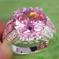 pink wedding ring - Fashion In Stock Real Image Oval Cut Pink White Sapphire Gemstone Ring Silver Rings Size Crystal For Prom Party Wedding Ring A0038