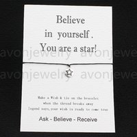 Wholesale hot sale Believe in Yourself You are a Star love card Card with Hearts Charm bracelet new Wish Bracelet colors