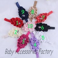 Wholesale 2014 Hot Infant Elastic Headband With Plastic Rhinestone Baby Chiffon Flower Headbands Newborn Christmas Flower Hair Band Hair Accessories