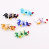 Cheap Mix Color Animal Rooster Chicken Murano Lampwork Glass Pendant Crystal European Bead Charms Jewelry JJAL BE391
