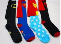 Cheap 2015 sports socks cosplay cape socks superman cotton socks batman women socks knee high socks high qualty mens football socks
