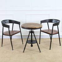 Wholesale Bao creative hair retro wood coffee table tea table Iron Bar tea shop casual cafe tables and chairs