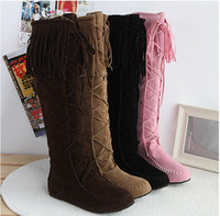 Wholesale Womens Tall Lace Up Faux Suede Tassles Slouchy Boho Fringe Mid Calf Boots Shoes colors