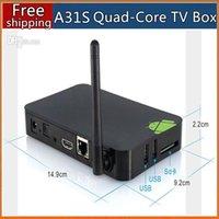 Wholesale New Android HD TV Smart Box A31S Cortex A8 Quad Core G DDR3 GB P DLNA Miracast HDMI Wifi Youtube Media Player