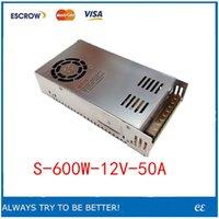 al por mayor 12v regulador de voltaje llevado-Interruptor llevado de la fuente de alimentación 600W 12v 50A convertidor de la corriente continua AC 220v S-600w 12v regulador de voltaje variable de la CC S-600-12