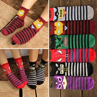 Wholesale 6 designs marvel Avengers Age of Ultron Unisex socks superheroes cartoon Iron Man Hulk men and women cotton sock cheap HX