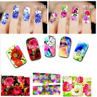 Wholesale New Sheets XF1372 Nail Art Flower Water Tranfer Sticker Nails Beauty Wraps Foil Polish Decals Temporary Tattoos Watermark