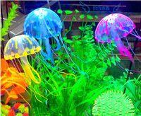 Wholesale 2015 new Multicolor Vivid Glowing Effect Fluorescent Artificial Jellyfish Aquarium Fish Tank Decoration Ornament Swim Pool Bath Decor