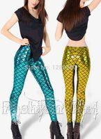 Cheap mermaid tall waist light imitation leather leggings Nightclub stage scales corrugated women's fashion mermaid sport leggings