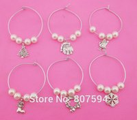 wine glass charm - New Arrival Mixed Christmas Wine Glass Charms Table Decorations Party s Supplies S81