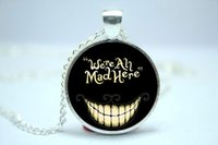 alice in wonderland - 10pcs We re all Mad here Alice in Wonderland Necklace Glass Cabochon Necklace version