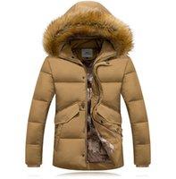 canada - Fall winter jackets mens canada Men Solid Down Jacket Real Fur Collar Coat Thick Warm Hooded parka men Parkas duck down