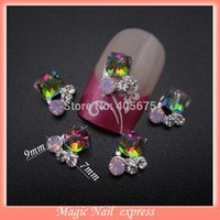 art colored stones - MNS441 Glitter colored nail art rhinestones alloy square nail stone d nail charms decorations