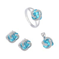 aqua products - 925 sterling silver Promotion heart set ring earring pendant Noble Generous S set ssz Blue Cubic Zirconia First class products