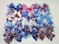 Wholesale New arrival inch high quality ribbon frozen hair bow WITH CLIP girls boutique hair bows kids frozen bows