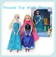 baby dolls shoes - Frozen Elsa Anna Doll Joint Moveable Dolls Baby Action Figures Plastic Toys with Shoes cm with Retail Box via EMS good sell