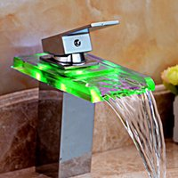 Chrome bathroom sink light - No Need Battery Basin Faucets LED Light Bathroom Waterfall Chrome Brass Deck Mounted Single Handle Sink Faucets Mixers Taps A4113