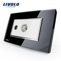au tv panels - US AU Standard Livolo Luxury TV SATV Socket Black Crystal Glass Panel VL C391VST