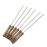 barbeque tools - Outdoor Home Yard Steel Metal BBQ Skewers Barbeque Kabob Needle Wood Tool Picnic
