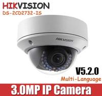 Wholesale Hikvision MP IP Camera DS CD2732F IS P CCTV camera Vandal proof dome POE camera mm varifocal Lens V5 English version Onvif