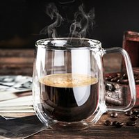 Wholesale Heat Resistant Double Wall Layer Clear Glass Tea Coffee Cups Mug ml Handmade Birthday Event Party Supplies Fashion Gift