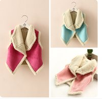Wholesale Little train the spring and autumn period and the new product Han edition of the girls lambs wool big lapel faux suede vest
