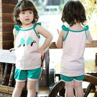 Cheap Summer fashion kids Baby Girl Suits Tshirt shorts Clothing cotton Sets Kids toddler Clothing C195