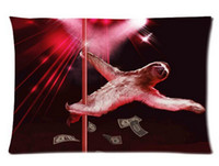 Cheap Hot Pillow Cover Sloth Bear Stripper Pole Dancing Custom Pillowcase 20x30 inch 2 sides