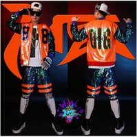 baseball dance costumes - Male singer clubs in Europe and the runway looks dazzle colour orange green sequins splicing hip hop baseball costumes S xl