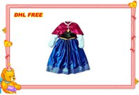 best lanterns - Best price Elsa anna princess girl party Children princess costume baby girls anna dress with cape long sleeve new kid dress DHL free ship