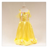 beauty fancy dress - beauty and the beast cosplay carnival costume kids belle princess dress for Christmas Party princess character dress fancy party dress