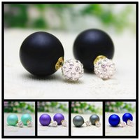 beaded earings - new design fashion brand jewelry double pearl stud earrings for women rhinestone beaded shamballa earings