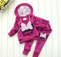 Cheap 3colors kids sport wear Baby Clothing Set girls sport suit Baby Clothes Baby Garment Sport Suit Fashion Butterfly Set
