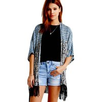 best fight shorts - w1025 Best seller Printed Open Stitch Fight Side Tassel Sleeve Kimono Casual Chiffon Cardigan Blouse