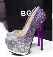 Wholesale 14 cm Glitter sequined purple prom gown dress shoes platform high heels bridesmaid wedding shoes Size to