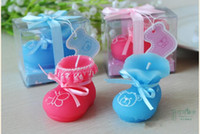 Wholesale 2015 New Baby Shower favor Pink Blue Baby Shoes Candle Birthday Gifts party decorations supplies with gift box