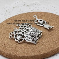 Wholesale pieces mm Antique Silver Metal Alloy Arrow Hearts Jewelry Connectors Charms for Bracelet Making