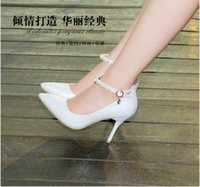Wholesale Fall leather shoes fine word cingulate baotou pointed high heeled shoes with pure color women s shoes