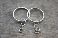 attached rings - 30pcs Key chain Silver Key rings with Attached Chain charms pendants mm