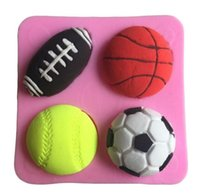 basketball cake decoration - Football Basketball Tennis Football Shape Wedding Decoration Silicone Fondant Sugar Bow Craft Molds DIY Cake Freeshipping