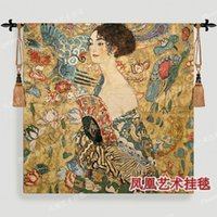 Wholesale Masters paintings series Klimt Lady holding fan Art tapestry fashion wall hangings cotton cloth soft fan
