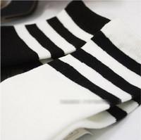 Unisex 2-10T Summer Unisex Children Clothing Boys Girls Cotton Socks Childs Striped Long Socks Boys Clothes Korean Fashion Style White Black 5pairs lot M1771