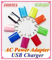 Wholesale 1000mah Colorful EU US Plug USB Wall Charger AC Power Adapter Home Charger for iphone G S G S C Samsung Galaxy S3 S4 S5 DD0604g7
