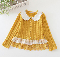 Wholesale Hot sell Spring Children grils knitting sweater lace collar kids lace crochet outwear girls long sleeve cardigan children clothing A7873