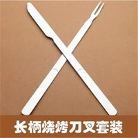 Wholesale Extended stainless steel barbecue fork and knife two piece long handle outdoor picnic cutlery BBQ tools