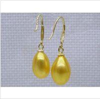 akoya pearl drop earrings - Natural golden yellow12X14mm AAA drop akoya pearl dangle hook earring K