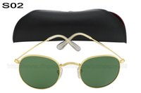 Wholesale High Quality Fashionable Mens Womens Designer Sunglasses Sun Glasses Lens Gold Frame green Lens