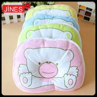 Wholesale Hot baby pillow cute bear print Toddler pillow Infant bedding oval shape cotton kid shaping pillow