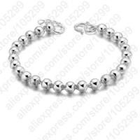 real silver jewelry - Bracelet New Real Pure Sterling Silver Men s Jewelry Bracelet Silver Beads Ball Fine Bracelet